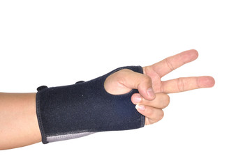 Patient black Wrist brace support, Orthopedic case, clipping path included.