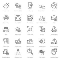 Banking and Finance Line Vector Icons 19