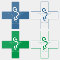 pharmacy snake medical symbol set
