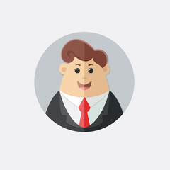 Man in a suit with a red tie. Avatar boss, office worker, manager, banker,  businessman. Flat vector icon, illustration