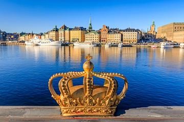 Gilded Crown of Skeppsholmsbron Bridge, Stockholm, Sweden