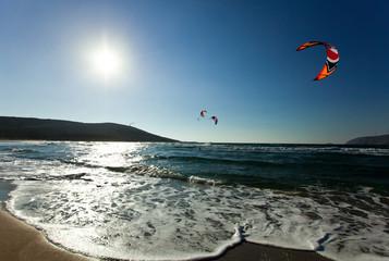 Kitesurfing in the Prasonisi. Rhodes. Greece