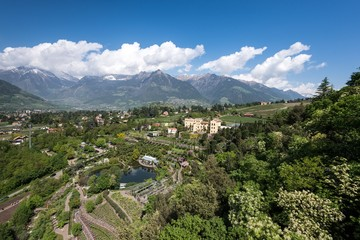 Merano/Meran, South Tyrol, Italy. The Water and Terraced Gardens in the Gardens of Trauttmansdorff Castle