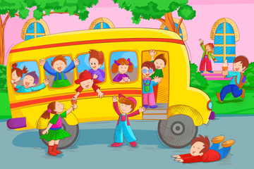 Kids going for picnic in school bus during summer vacation