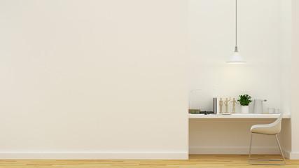 workspace in white bedroom clean design - 3D Rendering