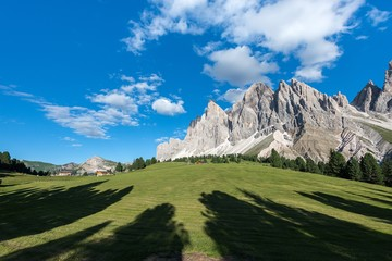 Funes Valley, Dolomites, South Tyrol, Italy.The peaks of the Odle/Geislerspitzen in the evening.