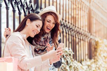 Two girls doing selfie