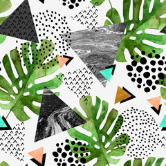Photo sur Plexiglas Empreintes Graphiques watercolor tropical leaves and textured triangles background