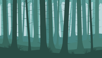 Landscape with silhouettes of trees in the forest - cartoon vector illustration