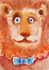 Lion in bow tie. Watercolor illustration. Hand drawing