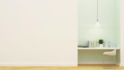 workspace pastel green design - 3D Rendering