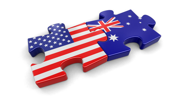 USA and Australia puzzle from flags. Image with clipping path