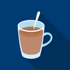 Cup of cocoa.Different types of coffee single icon in flat style vector symbol stock illustration web.