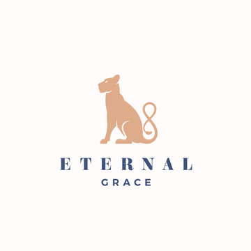 Eternal Grace Abstract Vector Sign, Emblem or Logo Template. Gracefull Sitting Lioness Silhouette with the Infinity Symbol Tail.