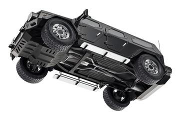 Suv car black suspension, bottom view. 3D rendering