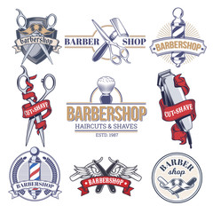 collection badges, logos with barbershop and tools