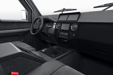 Car interior dashboard black leather. 3D rendering