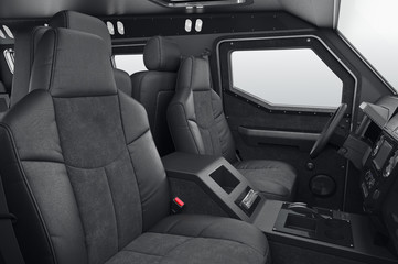Car interior cabin leather black seat. 3D rendering