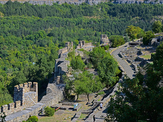 The fortress wall and the towers of the fortress Tsarevets, ruins of the aristocratic houses and a the ruin monastery on the hill Tsarevets in Veliko Tarnovo Bulgaria.