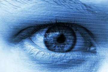 Blue eye with digital numbers symbolizing computers cybersecurity cyberspace internet