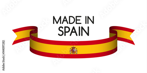 colored ribbon with the spanish colors made in spain symbol rh fotolia com spain flag emblem meaning spain flag emblem