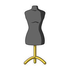 Plastic dummy on the stand.Sewing or tailoring tools kit single icon in cartoon style vector symbol stock illustration.