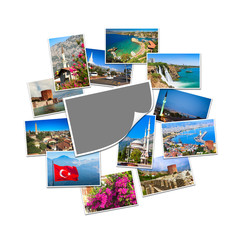 Blank photo with copy space and collection of travel pictures from Turkey