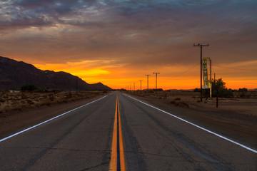 Desert Road into the Sunset