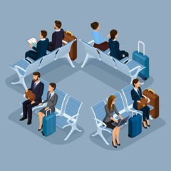 Trendy People Isometric vector 3D businessmen and business ladies at the airport in the waiting room, front view rear view, luggage, travel isolated on a blue gray background