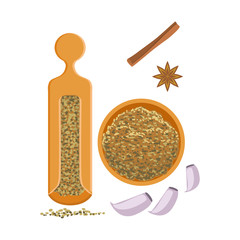 Fennel seeds in a wooden bowl and wooden shaker. Colorful cartoon illustration