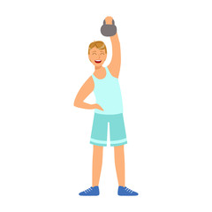 Man in sportswear doing workout with kettlebell. Colorful cartoon character