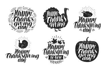 Happy Thanksgiving, label set. Holiday icons or symbols. Lettering, vector illustration