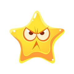 Wrathful emotional face of yellow star, cartoon character