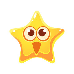 Surprised and happy emotional face of yellow star, cartoon character
