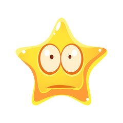 Worry and sad emotional face of yellow star, cartoon character