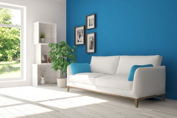 Blue room with sofa and green landscape in window. Scandinavian interior design. 3D illustration