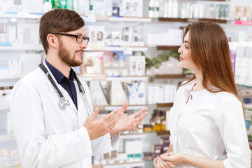 Pharmacists working at the local drugstore