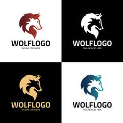 Wolf logo design template. Wolf head logo. Vector illustration