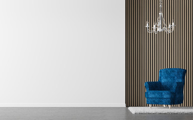 Modern living room interior 3d rendering image.There are decorate wall with vertical wood pattern and white wall with paint
