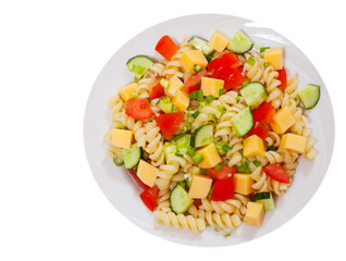 pasta salad with cheese and vegetables. top view. isolated on white