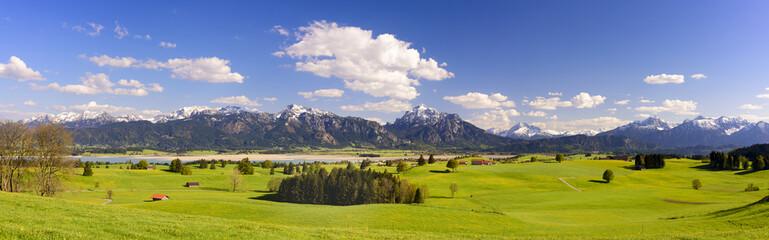 Wall Mural - Panorama der Alpen im Allgäu mit Forggensee und Säuling