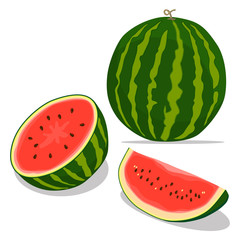 Vector illustration logo for whole ripe red fruit watermelon,green stem,cut half,sliced slice berry with red flesh,background.Watermelon drawing from natural sweet food.Eat tropical fruits watermelons