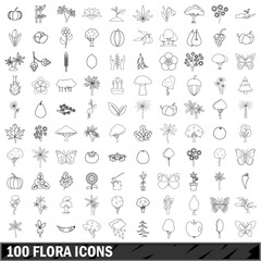 100 flora icons set, outline style
