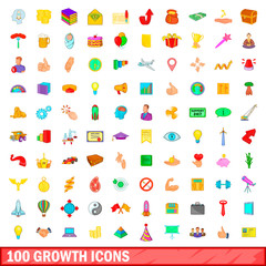 100 growth icons set, cartoon style