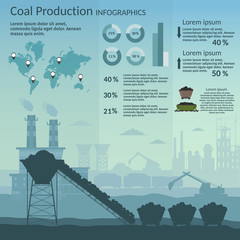 Coal mining industry and transportation set infographics elements isolated vector technics building