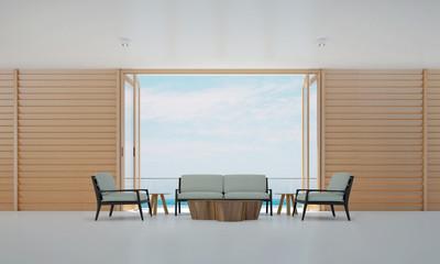 minimal living room and wood wall