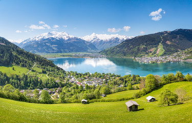 View over Zell am See in Summer, Salzburg, Austria Wall mural
