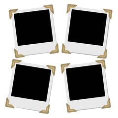 Set of retro photo frames with photo corners.
