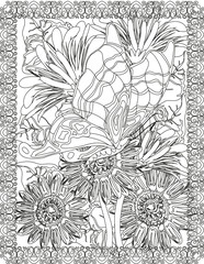 Butterfly and Carnations Adult Coloring