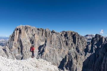 Sassopiatto/ Plattkofel, Dolomites, South Tyrol, Italy. View from Sassopiatto/Plattkofel to Sassolungo/Langkofel